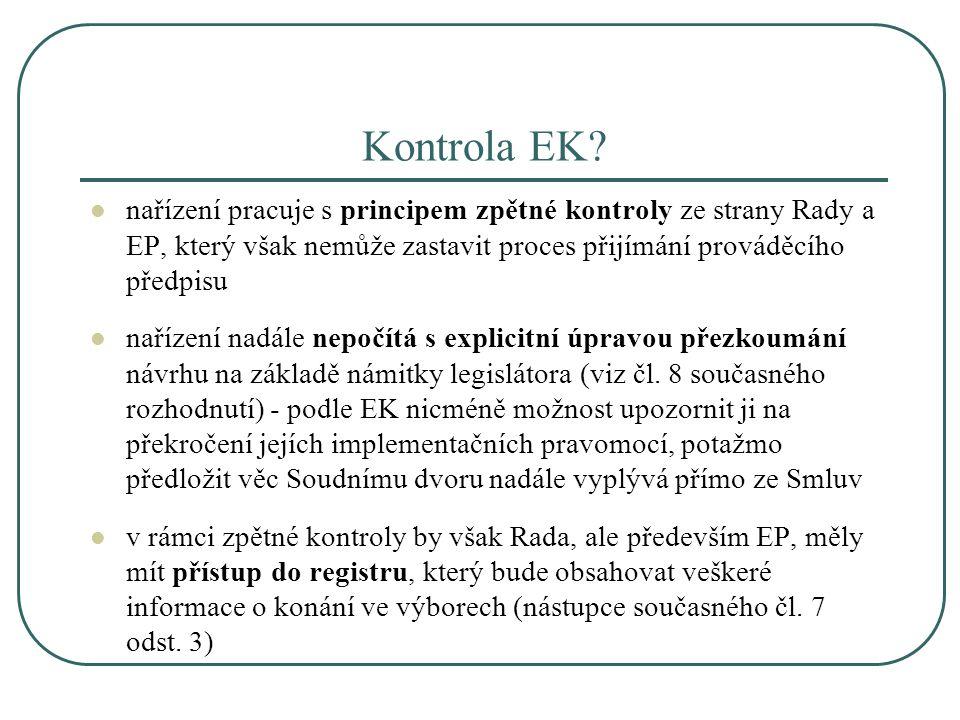 Kontrola EK? nařízení pracuje s principem zpětné kontroly ze strany Rady a EP, který však nemůže zastavit proces přijímání prováděcího předpisu naříze
