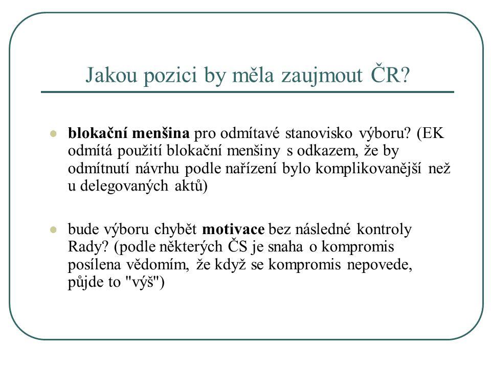 Jakou pozici by měla zaujmout ČR? blokační menšina pro odmítavé stanovisko výboru? (EK odmítá použití blokační menšiny s odkazem, že by odmítnutí návr