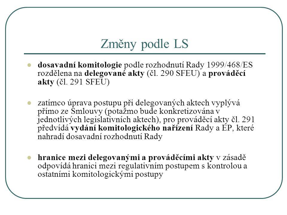 Změny podle LS dosavadní komitologie podle rozhodnutí Rady 1999/468/ES rozdělena na delegované akty (čl. 290 SFEU) a prováděcí akty (čl. 291 SFEU) zat