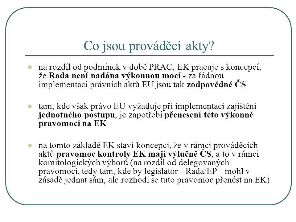 Co jsou prováděcí akty? na rozdíl od podmínek v době PRAC, EK pracuje s koncepcí, že Rada není nadána výkonnou mocí - za řádnou implementaci právních