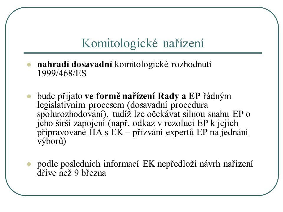 Komitologické nařízení nahradí dosavadní komitologické rozhodnutí 1999/468/ES bude přijato ve formě nařízení Rady a EP řádným legislativním procesem (