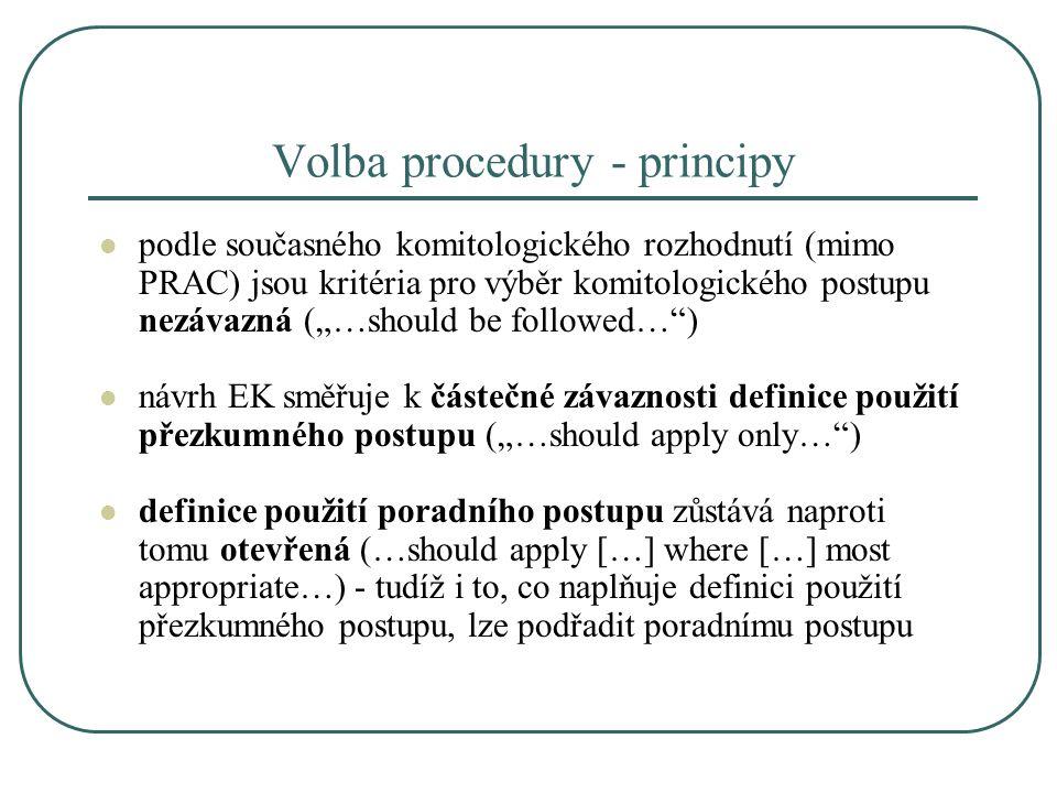 """Volba procedury - principy podle současného komitologického rozhodnutí (mimo PRAC) jsou kritéria pro výběr komitologického postupu nezávazná (""""…should"""