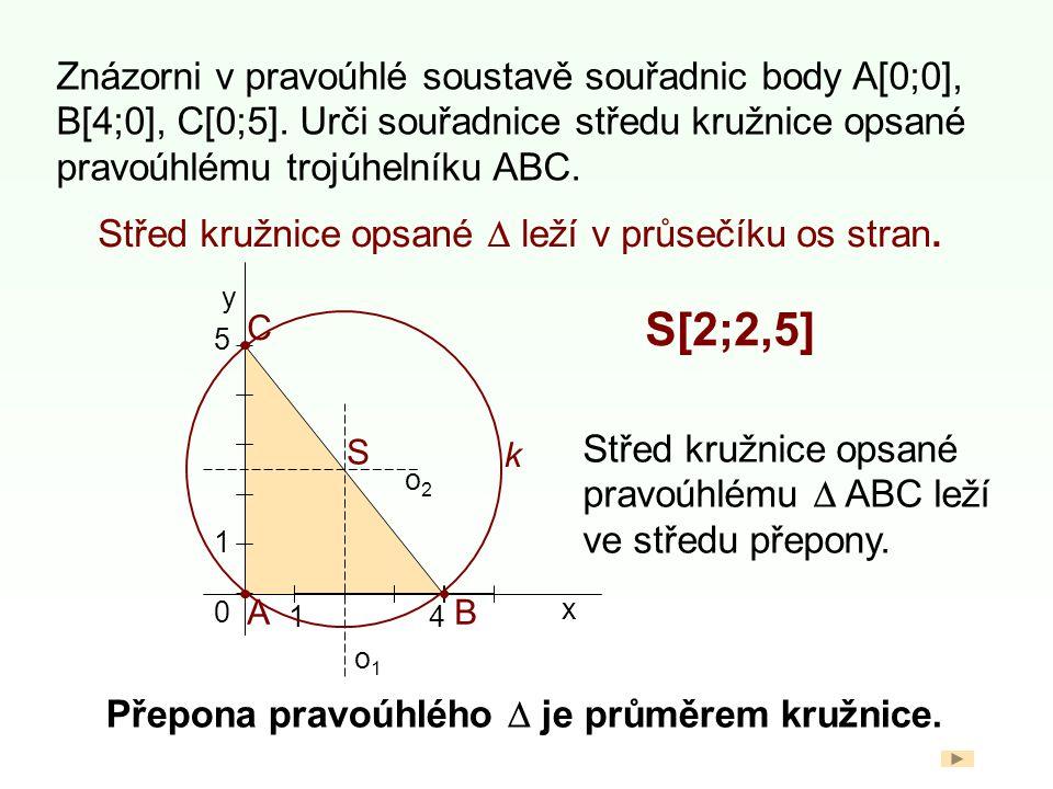 Znázorni v pravoúhlé soustavě souřadnic body A[0;0], B[4;0], C[0;5].