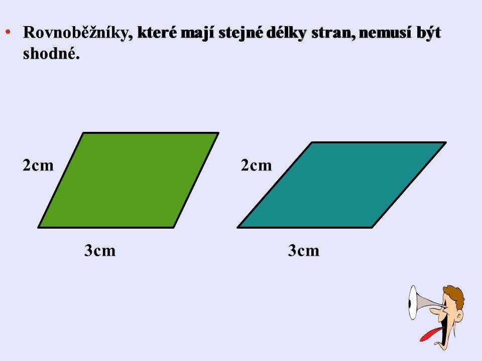 Rovnoběžníky, které mají stejné délky stran, nemusí být shodné.