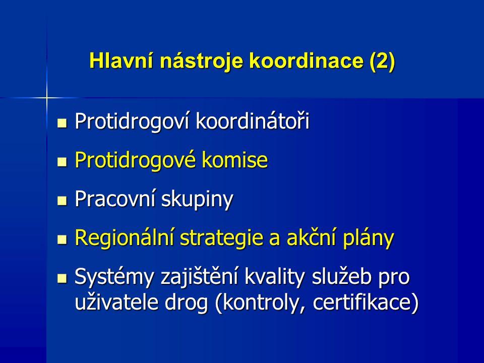 Hlavní nástroje koordinace (2) Protidrogoví koordinátoři Protidrogoví koordinátoři Protidrogové komise Protidrogové komise Pracovní skupiny Pracovní skupiny Regionální strategie a akční plány Regionální strategie a akční plány Systémy zajištění kvality služeb pro uživatele drog (kontroly, certifikace) Systémy zajištění kvality služeb pro uživatele drog (kontroly, certifikace)