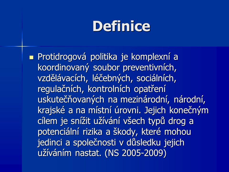 Definice Protidrogová politika je komplexní a koordinovaný soubor preventivních, vzdělávacích, léčebných, sociálních, regulačních, kontrolních opatření uskutečňovaných na mezinárodní, národní, krajské a na místní úrovni.
