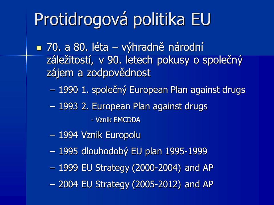 Protidrogová politika EU 70. a 80. léta – výhradně národní záležitostí, v 90. letech pokusy o společný zájem a zodpovědnost 70. a 80. léta – výhradně