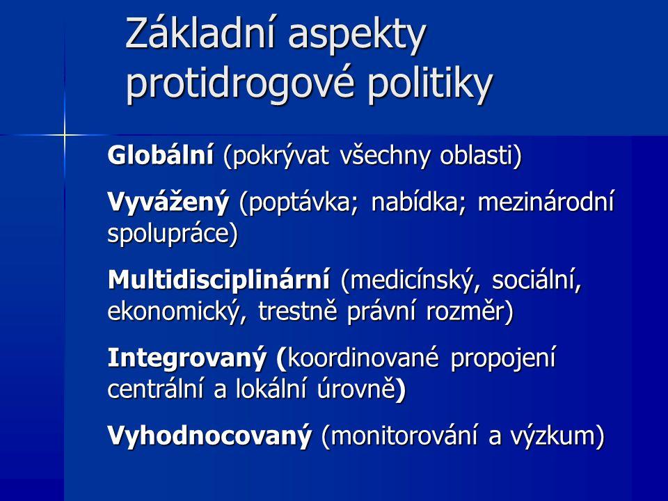 Základní aspekty protidrogové politiky Globální (pokrývat všechny oblasti) Vyvážený (poptávka; nabídka; mezinárodní spolupráce) Multidisciplinární (medicínský, sociální, ekonomický, trestně právní rozměr) Integrovaný (koordinované propojení centrální a lokální úrovně) Vyhodnocovaný (monitorování a výzkum)