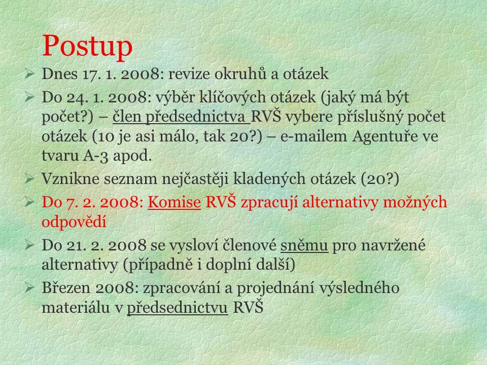Postup  Dnes 17. 1. 2008: revize okruhů a otázek  Do 24. 1. 2008: výběr klíčových otázek (jaký má být počet?) – člen předsednictva RVŠ vybere příslu