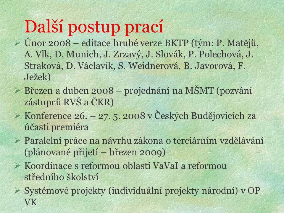 Další postup prací  Únor 2008 – editace hrubé verze BKTP (tým: P. Matějů, A. Vlk, D. Munich, J. Zrzavý, J. Slovák, P. Polechová, J. Straková, D. Václ