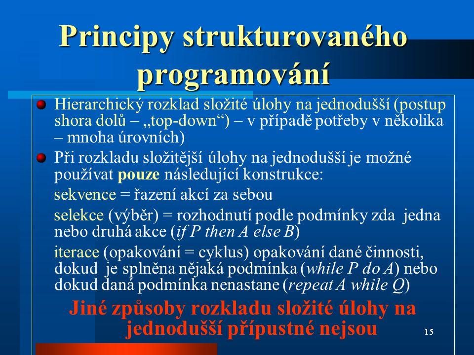 """15 Principy strukturovaného programování Hierarchický rozklad složité úlohy na jednodušší (postup shora dolů – """"top-down"""") – v případě potřeby v někol"""