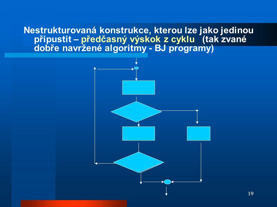 19 Nestrukturovaná konstrukce, kterou lze jako jedinou připustit – předčasný výskok z cyklu (tak zvané dobře navržené algoritmy - BJ programy)