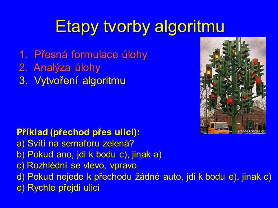 Etapy tvorby algoritmu 1. Přesná formulace úlohy 2. Analýza úlohy 3. Vytvoření algoritmu Příklad (přechod přes ulici): a) Svítí na semaforu zelená? b)