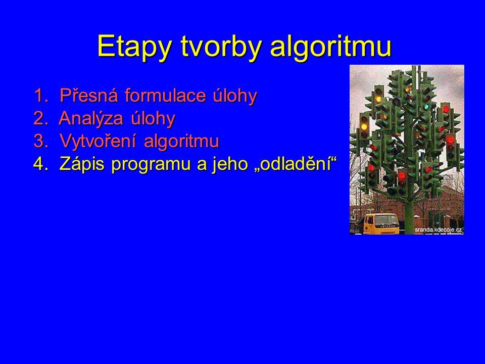 """Etapy tvorby algoritmu 1. Přesná formulace úlohy 2. Analýza úlohy 3. Vytvoření algoritmu 4. Zápis programu a jeho """"odladění"""""""