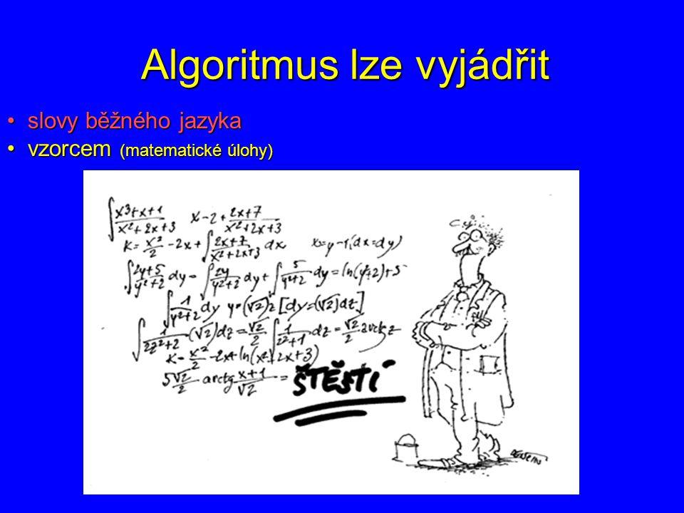 Algoritmus lze vyjádřit slovy běžného jazyka slovy běžného jazyka vzorcem vzorcem graficky (znázornění dohodnutými značkami) graficky (znázornění dohodnutými značkami)