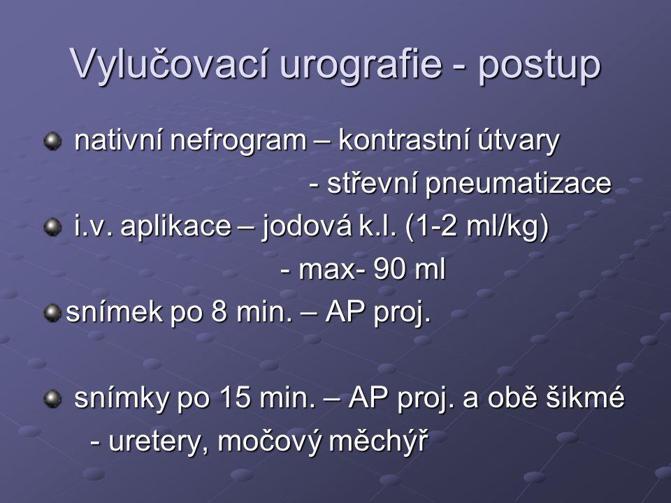 Vylučovací urografie - postup nativní nefrogram – kontrastní útvary nativní nefrogram – kontrastní útvary - střevní pneumatizace i.v. aplikace – jodov