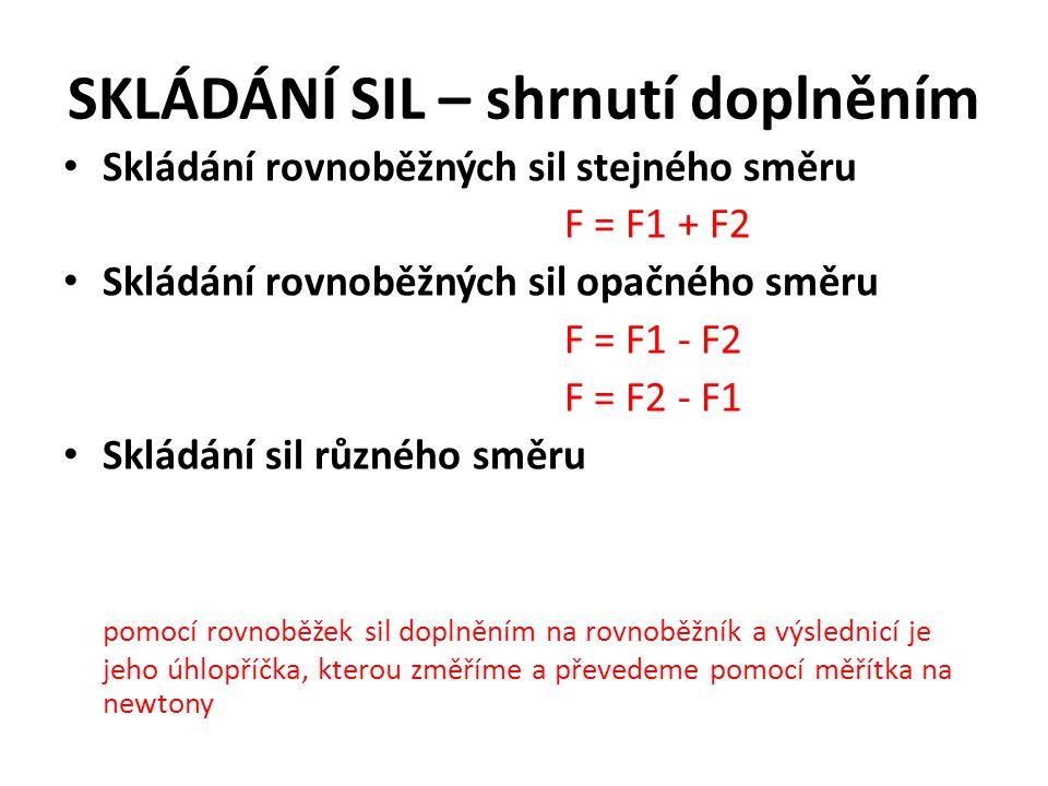 SKLÁDÁNÍ SIL – shrnutí doplněním Skládání rovnoběžných sil stejného směru F = F1 + F2 Skládání rovnoběžných sil opačného směru F = F1 - F2 F = F2 - F1 Skládání sil různého směru pomocí rovnoběžek sil doplněním na rovnoběžník a výslednicí je jeho úhlopříčka, kterou změříme a převedeme pomocí měřítka na newtony
