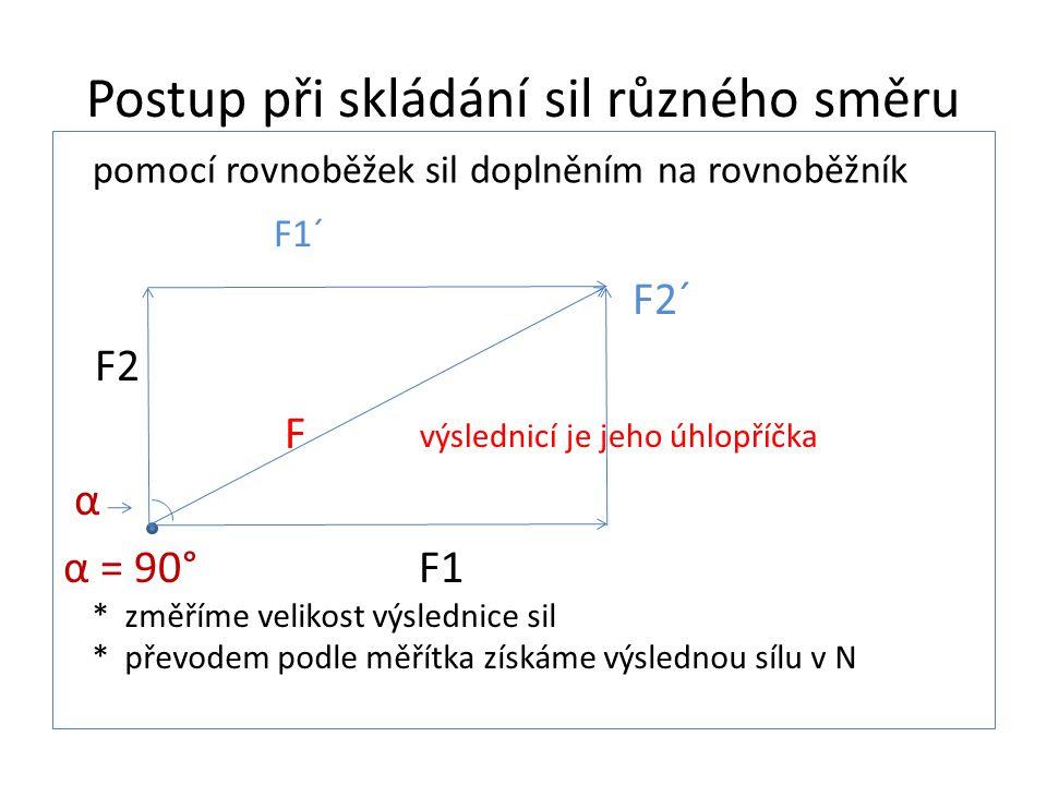 Postup při skládání sil různého směru F1´ F2´ F2 F α α = 90° F1 pomocí rovnoběžek sil doplněním na rovnoběžník výslednicí je jeho úhlopříčka * změříme velikost výslednice sil * převodem podle měřítka získáme výslednou sílu v N