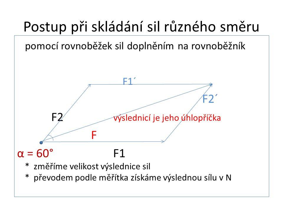 Postup při skládání sil různého směru F1´ F2´ F2 F α = 60° F1 pomocí rovnoběžek sil doplněním na rovnoběžník výslednicí je jeho úhlopříčka * změříme velikost výslednice sil * převodem podle měřítka získáme výslednou sílu v N
