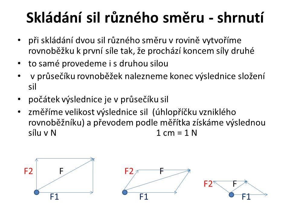Skládání sil různého směru - shrnutí při skládání dvou sil různého směru v rovině vytvoříme rovnoběžku k první síle tak, že prochází koncem síly druhé to samé provedeme i s druhou silou v průsečíku rovnoběžek nalezneme konec výslednice složení sil počátek výslednice je v průsečíku sil změříme velikost výslednice sil (úhlopříčku vzniklého rovnoběžníku) a převodem podle měřítka získáme výslednou sílu v N 1 cm = 1 N F2 F F2 F F2 F F1 F1 F1