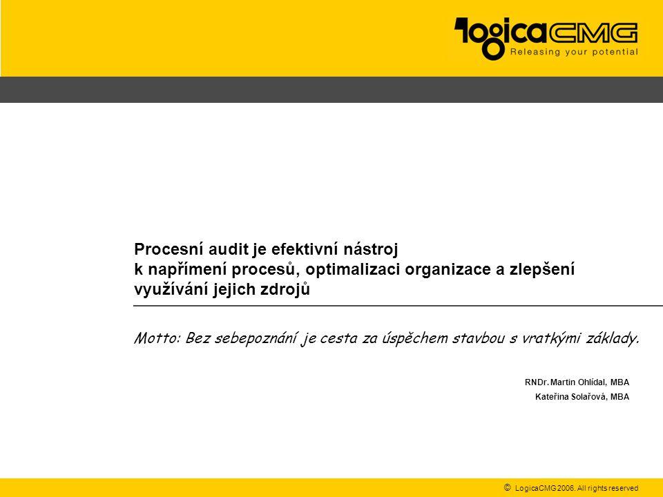 © LogicaCMG 2006. All rights reserved Procesní audit je efektivní nástroj k napřímení procesů, optimalizaci organizace a zlepšení využívání jejich zdr