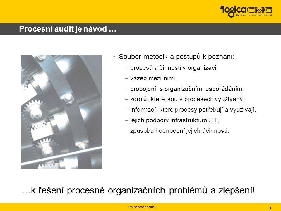 2 Procesní audit je návod … Soubor metodik a postupů k poznání: –procesů a činností v organizaci, –vazeb mezi nimi, –propojení s organizačním uspořádáním, –zdrojů, které jsou v procesech využívány, –informací, které procesy potřebují a využívají, –jejich podpory infrastrukturou IT, –způsobu hodnocení jejich účinnosti.