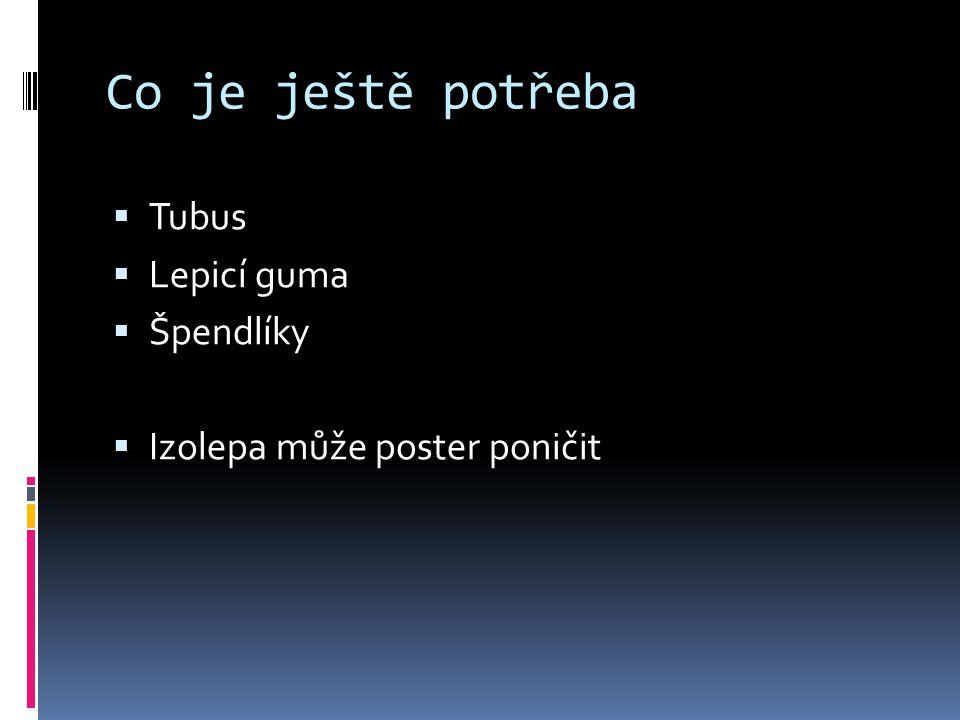 Co je ještě potřeba  Tubus  Lepicí guma  Špendlíky  Izolepa může poster poničit