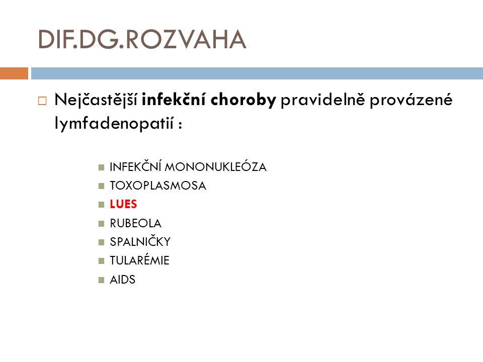 DIF.DG.ROZVAHA  Nejčastější infekční choroby pravidelně provázené lymfadenopatií : INFEKČNÍ MONONUKLEÓZA TOXOPLASMOSA LUES RUBEOLA SPALNIČKY TULARÉMIE AIDS