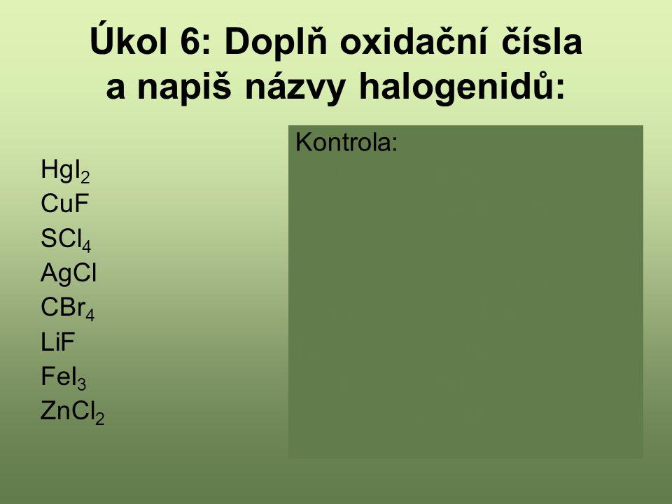 Úkol 6: Doplň oxidační čísla a napiš názvy halogenidů: HgI 2 CuF SCl 4 AgCl CBr 4 LiF FeI 3 ZnCl 2 Kontrola: Hg II I -I 2 Jodid rtuťnatý Cu I F -I Fluorid měďný S IV Cl -I 4 Chlorid siřičitý Ag I Cl -I Chlorid stříbrný C IV Br -I 4 Bromid uhličitý Li I F -I Fluorid litný Fe III I -I 3 Jodid železitý Zn II Cl -I 2 Chlorid zinečnatý
