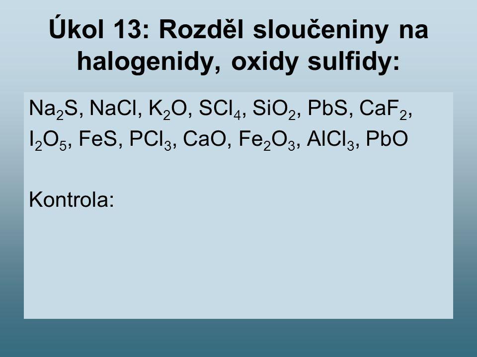 Úkol 13: Rozděl sloučeniny na halogenidy, oxidy sulfidy: Na 2 S, NaCl, K 2 O, SCl 4, SiO 2, PbS, CaF 2, I 2 O 5, FeS, PCl 3, CaO, Fe 2 O 3, AlCl 3, PbO Kontrola: Halogenidy: NaCl, SCl 4, CaF 2, PCl 3, AlCl 3 Oxidy: K 2 O, SiO 2, I 2 O 5, CaO, Fe 2 O 3, PbO Sulfidy: Na 2 S, PbS, FeS,