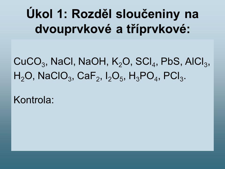 Úkol 1: Rozděl sloučeniny na dvouprvkové a tříprvkové: CuCO 3, NaCl, NaOH, K 2 O, SCl 4, PbS, AlCl 3, H 2 O, NaClO 3, CaF 2, I 2 O 5, H 3 PO 4, PCl 3.