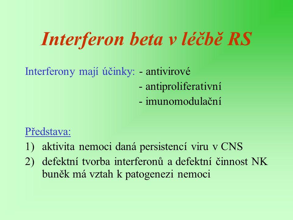 Interferon beta v léčbě RS Interferony mají účinky: - antivirové - antiproliferativní - imunomodulační Představa: 1)aktivita nemoci daná persistencí v