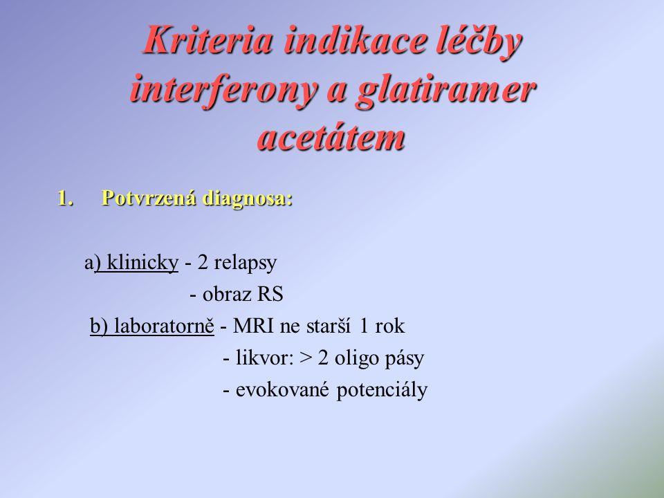 Kriteria indikace léčby interferony a glatiramer acetátem 1.Potvrzená diagnosa: a) klinicky - 2 relapsy - obraz RS b) laboratorně - MRI ne starší 1 ro