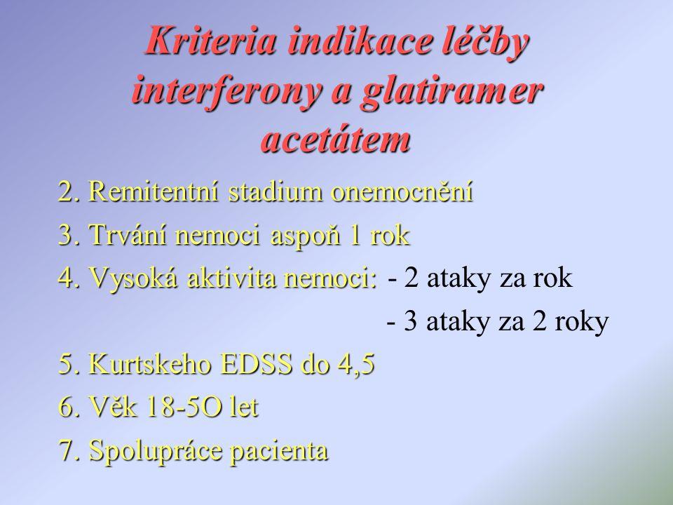 Kriteria indikace léčby interferony a glatiramer acetátem 2. Remitentní stadium onemocnění 3. Trvání nemoci aspoň 1 rok 4. Vysoká aktivita nemoci: 4.
