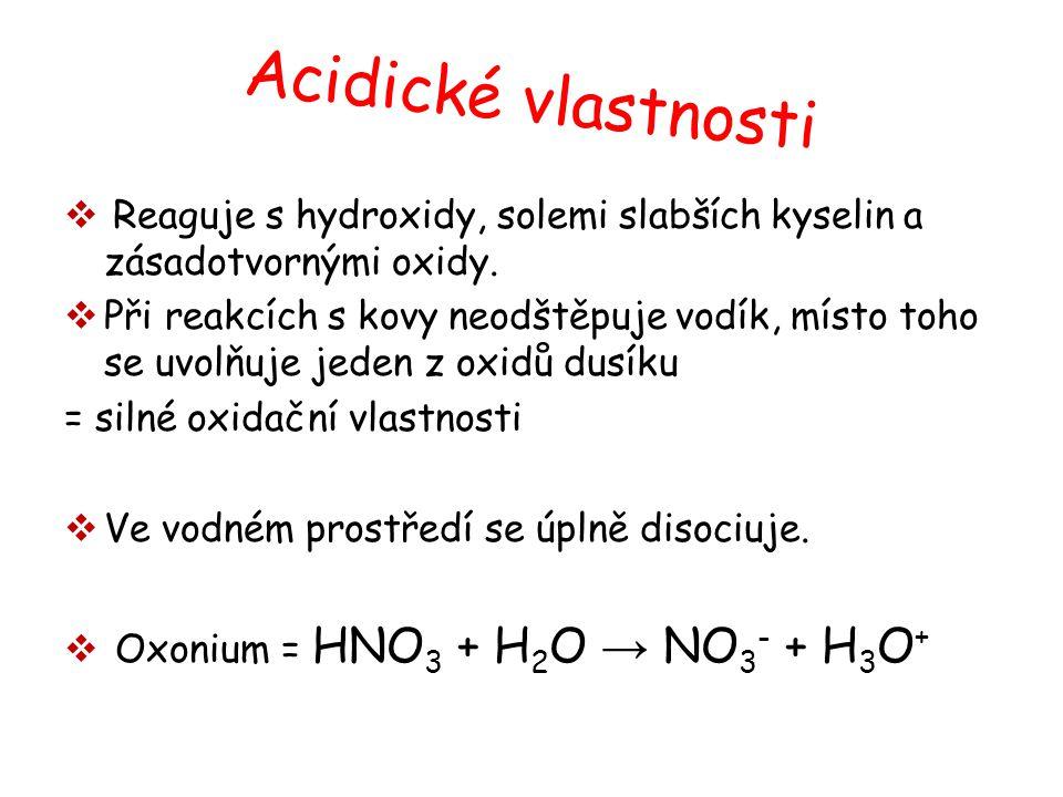 Acidické vlastnosti  Reaguje s hydroxidy, solemi slabších kyselin a zásadotvornými oxidy.  Při reakcích s kovy neodštěpuje vodík, místo toho se uvol