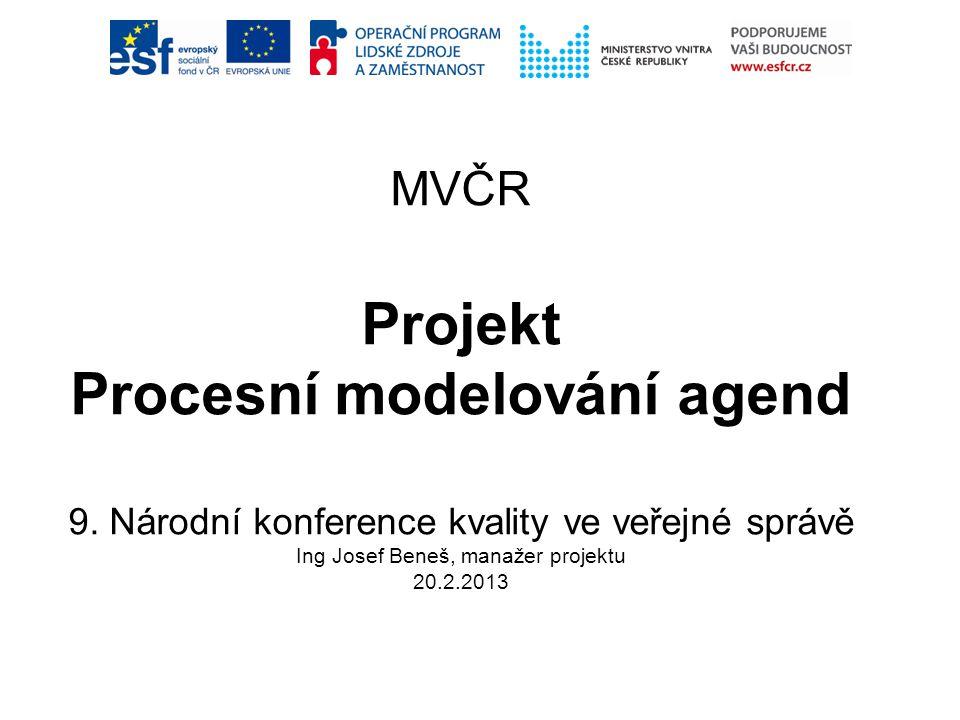 MVČR Projekt Procesní modelování agend 9. Národní konference kvality ve veřejné správě Ing Josef Beneš, manažer projektu 20.2.2013