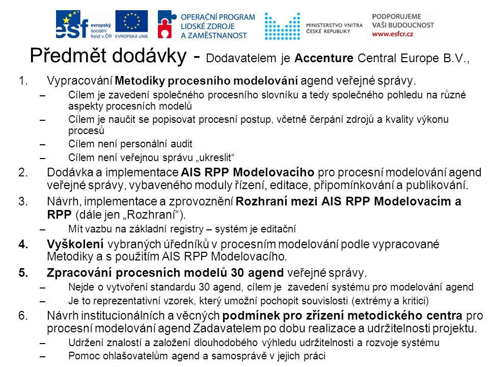 1.Vypracování Metodiky procesního modelování agend veřejné správy. –Cílem je zavedení společného procesního slovníku a tedy společného pohledu na různ