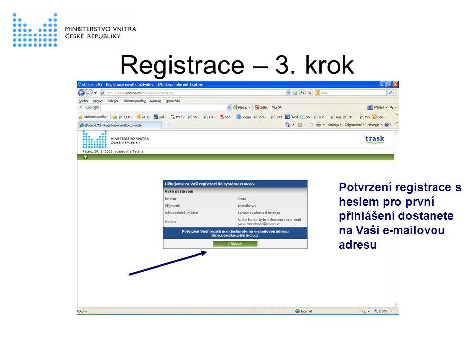Registrace – 3. krok Potvrzení registrace s heslem pro první přihlášení dostanete na Vaši e-mailovou adresu