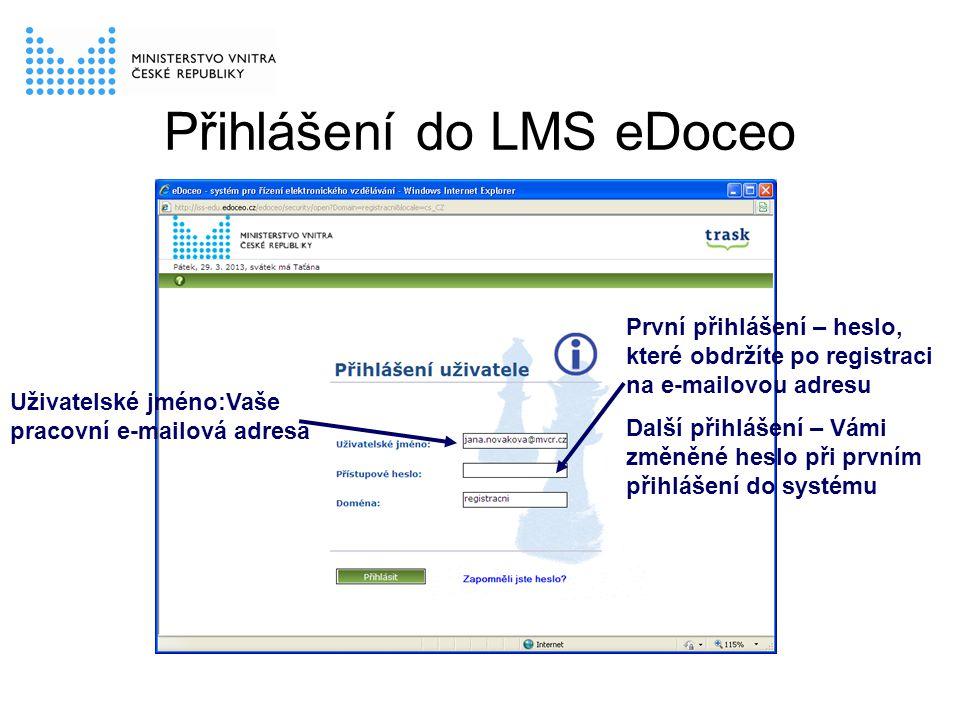 Přihlášení do LMS eDoceo První přihlášení – heslo, které obdržíte po registraci na e-mailovou adresu Další přihlášení – Vámi změněné heslo při prvním