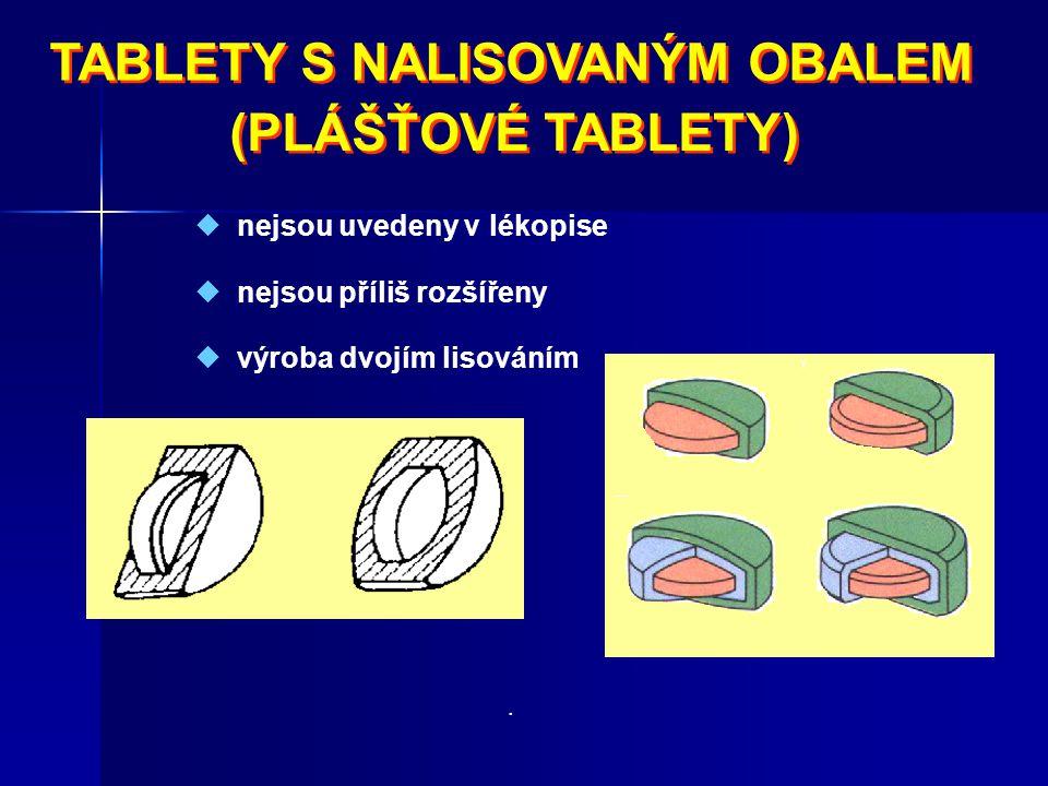 TABLETY S NALISOVANÝM OBALEM TABLETY S NALISOVANÝM OBALEM (PLÁŠŤOVÉ TABLETY)  nejsou uvedeny v lékopise  nejsou příliš rozšířeny  výroba dvojím lis