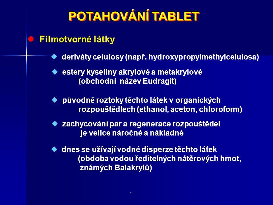 POTAHOVÁNÍ TABLET POTAHOVÁNÍ TABLET Filmotvorné látky  deriváty celulosy (např. hydroxypropylmethylcelulosa)  estery kyseliny akrylové a metakrylové