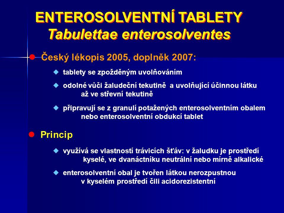 ENTEROSOLVENTNÍ TABLETY Tabulettae enterosolventes ENTEROSOLVENTNÍ TABLETY Tabulettae enterosolventes Český lékopis 2005, doplněk 2007:  tablety se z