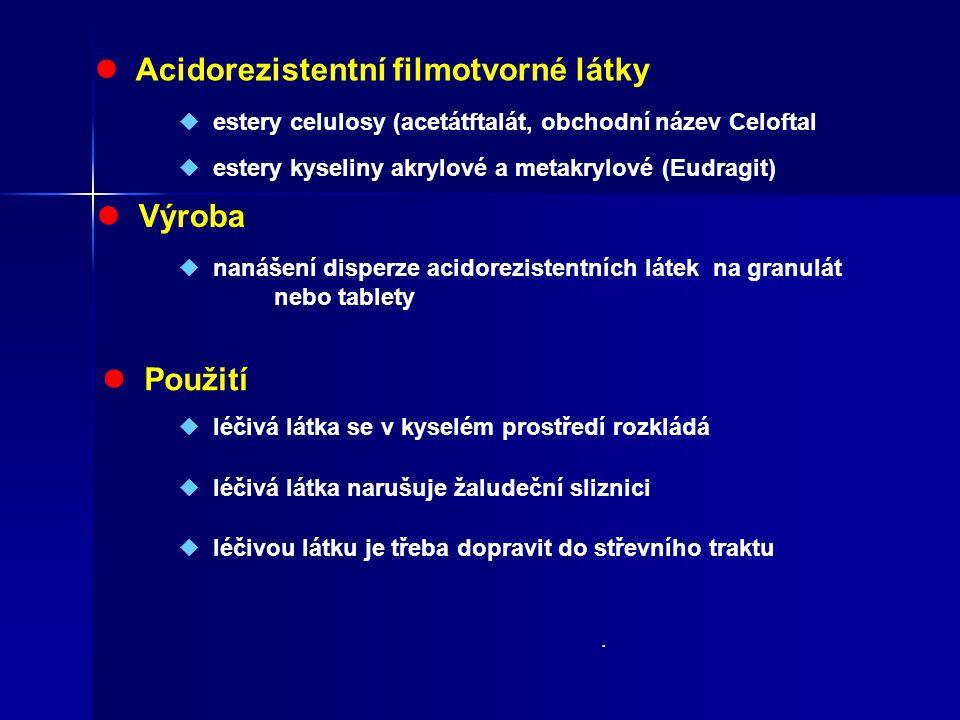 Acidorezistentní filmotvorné látky  estery celulosy (acetátftalát, obchodní název Celoftal  estery kyseliny akrylové a metakrylové (Eudragit) Výroba