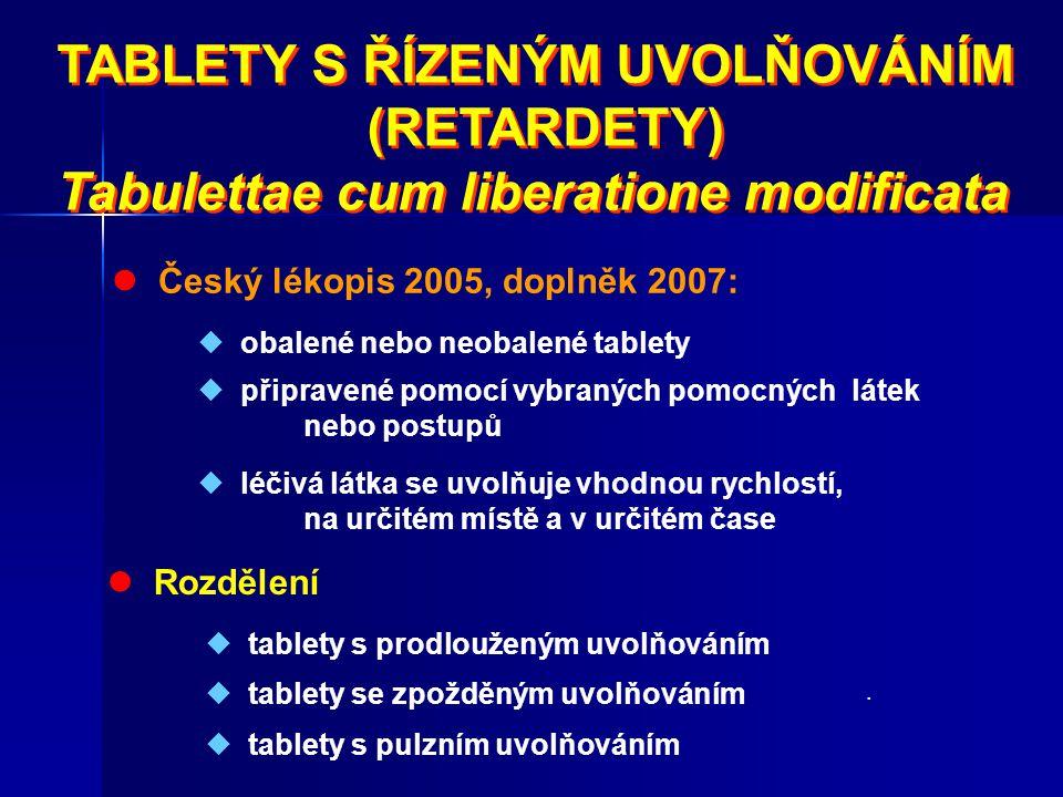 TABLETY S ŘÍZENÝM UVOLŇOVÁNÍM (RETARDETY) Tabulettae cum liberatione modificata TABLETY S ŘÍZENÝM UVOLŇOVÁNÍM (RETARDETY) Tabulettae cum liberatione m