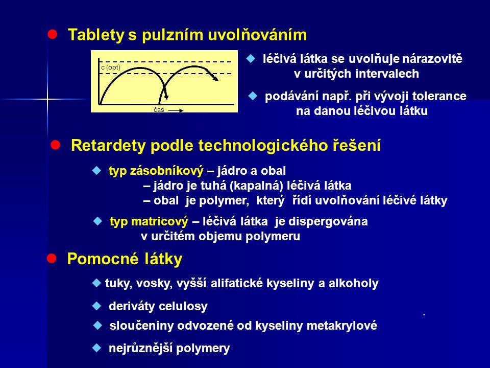 Tablety s pulzním uvolňováním c (opt) čas  léčivá látka se uvolňuje nárazovitě v určitých intervalech  podávání např. při vývoji tolerance na danou