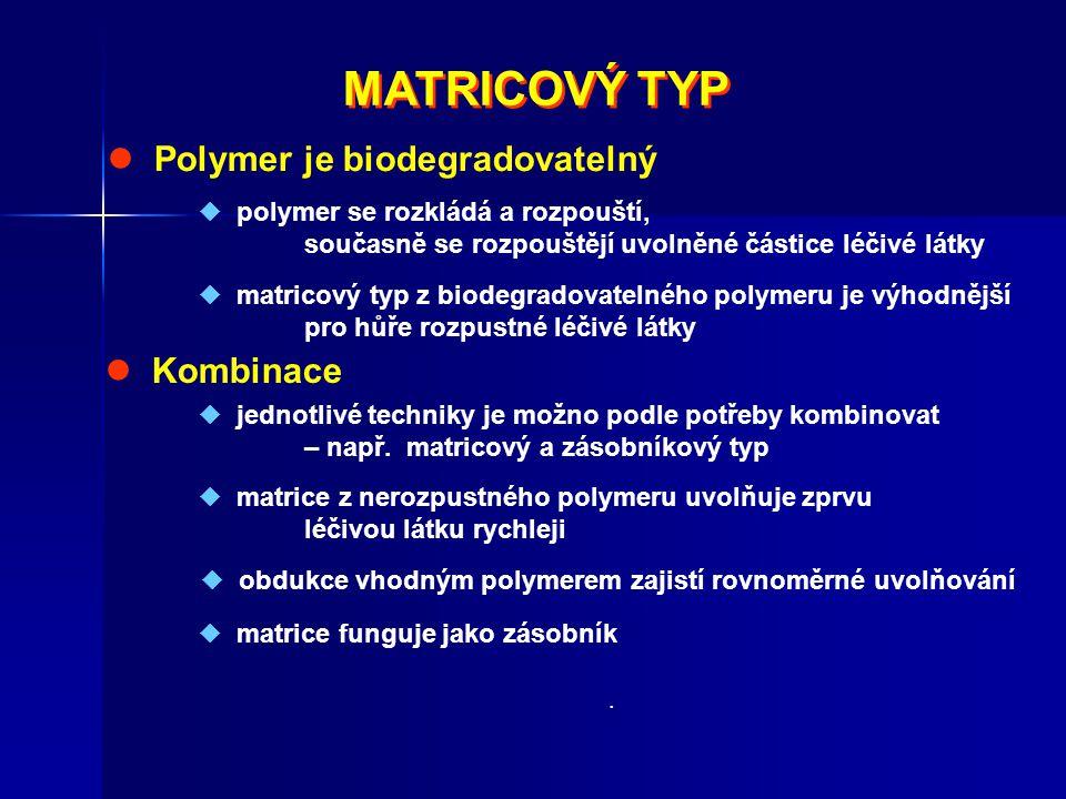 MATRICOVÝ TYP MATRICOVÝ TYP Polymer je biodegradovatelný  polymer se rozkládá a rozpouští, současně se rozpouštějí uvolněné částice léčivé látky  ma