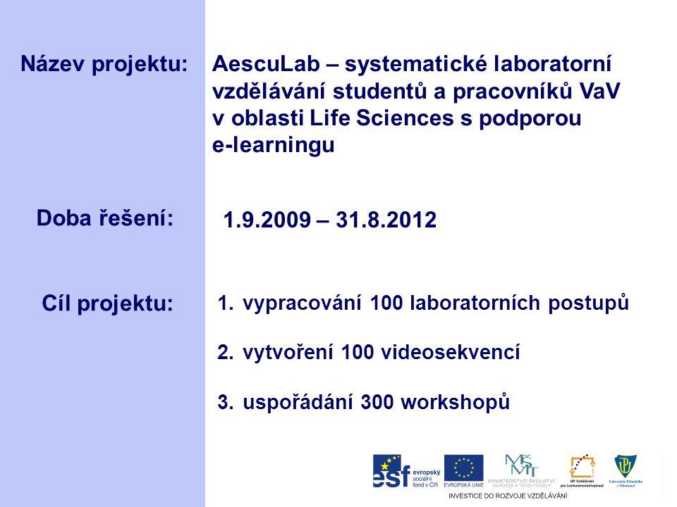 Název projektu:AescuLab – systematické laboratorní vzdělávání studentů a pracovníků VaV v oblasti Life Sciences s podporou e-learningu Doba řešení: 1.