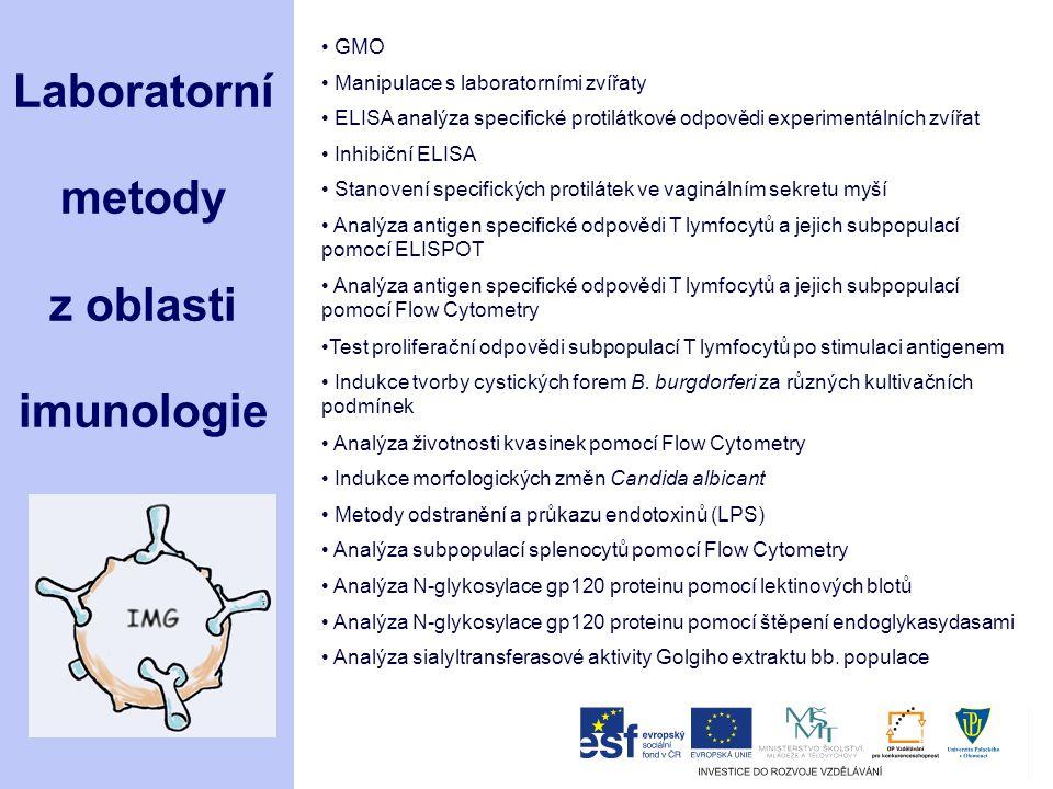 Laboratorní metody z oblasti imunologie GMO Manipulace s laboratorními zvířaty ELISA analýza specifické protilátkové odpovědi experimentálních zvířat