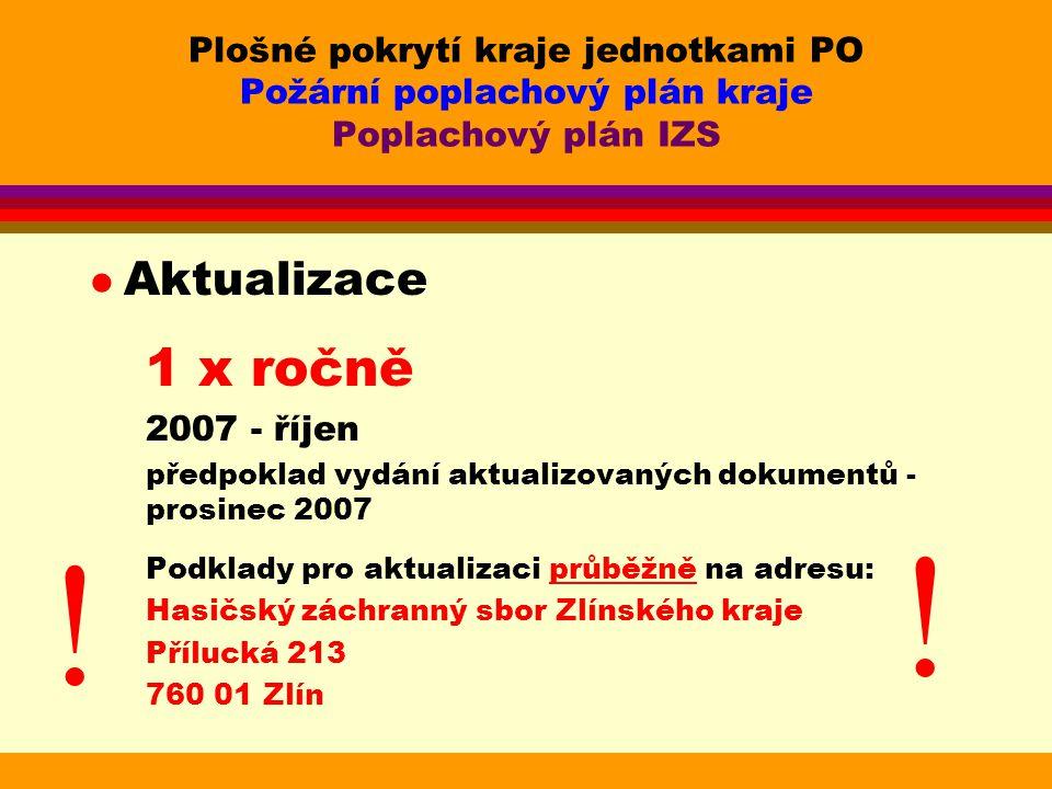 Plošné pokrytí kraje jednotkami PO Požární poplachový plán kraje Poplachový plán IZS l Aktualizace 1 x ročně 2007 - říjen předpoklad vydání aktualizov