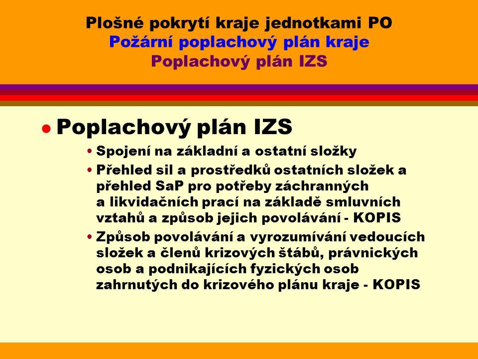 Plošné pokrytí kraje jednotkami PO Požární poplachový plán kraje Poplachový plán IZS l Poplachový plán IZS Spojení na základní a ostatní složky Přehled sil a prostředků ostatních složek a přehled SaP pro potřeby záchranných a likvidačních prací na základě smluvních vztahů a způsob jejich povolávání - KOPIS Způsob povolávání a vyrozumívání vedoucích složek a členů krizových štábů, právnických osob a podnikajících fyzických osob zahrnutých do krizového plánu kraje - KOPIS